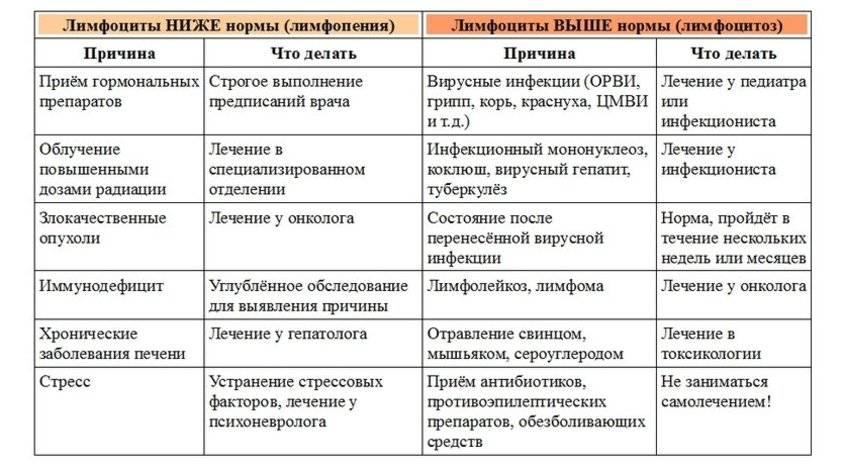 Причины лимфоцитоза и лечение