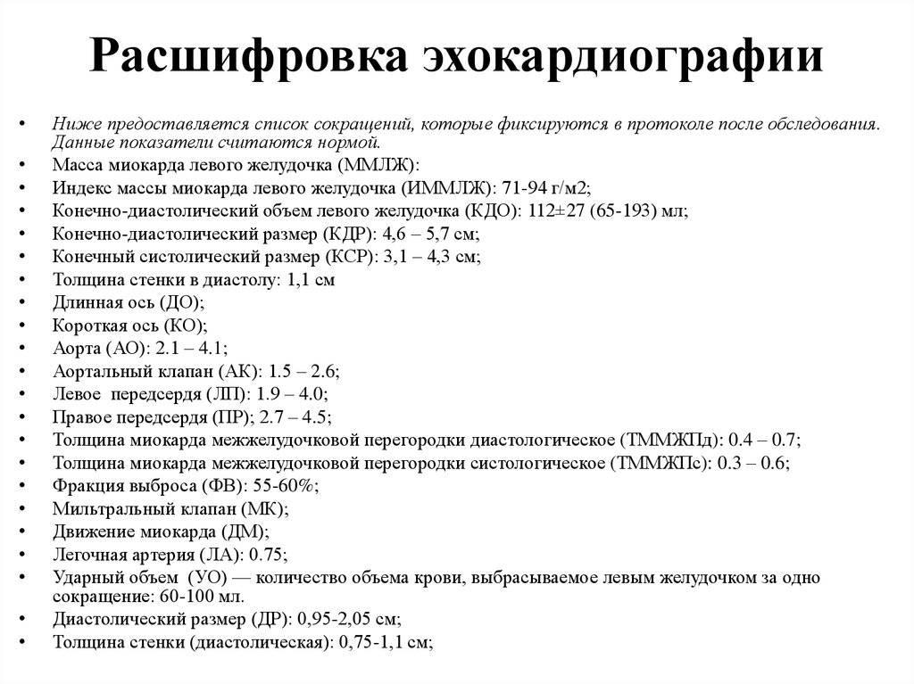 Эхокардиография (узи сердца): виды, показания, расшифровка