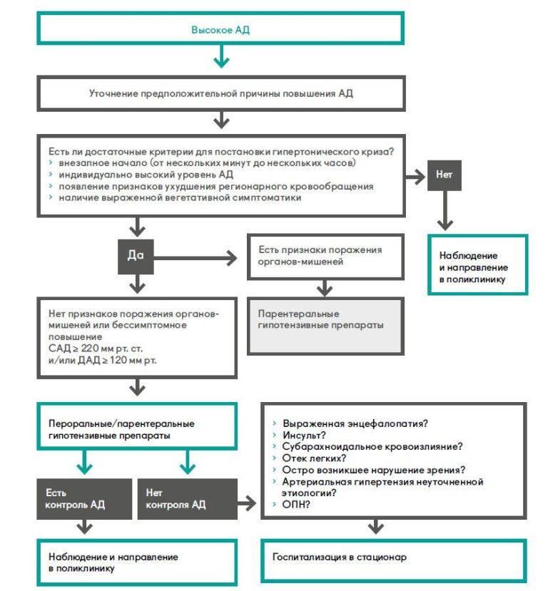 Неотложная помощь при гипертоническом кризе: алгоритм действий