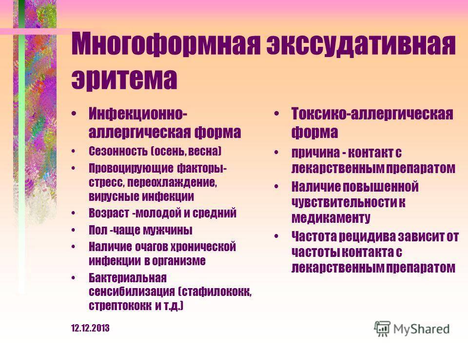 Многоформная экссудативная эритема - лечение, симптомы, фото